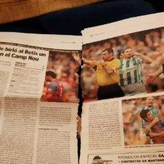Coleccionismo deportivo: PERIÓDICO ABC Y QUÉ! DEPORTES RECORTES PÁGINAS BARCELONA BETIS 4 ABRIL 2005 POLÉMICA ARBITRAL. LEER. Lote 195055777
