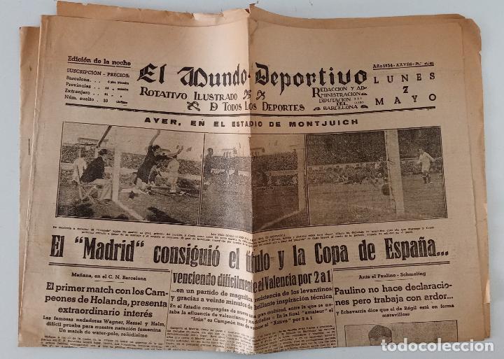 EL MUNDO DEPORTIVO. 7 MAYO 1934. EL MADRID CONSIGUÍO EL TÍTULO Y LA COPA DE ESPAÑA Y OTROS TEMAS. W (Coleccionismo Deportivo - Revistas y Periódicos - otros Deportes)