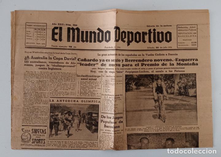 EL MUNDO DEPORTIVO. 25 JULIO 1936. XXX VUELTA CICLISTA A FRANCIA Y OTROS TEMAS. W (Coleccionismo Deportivo - Revistas y Periódicos - otros Deportes)