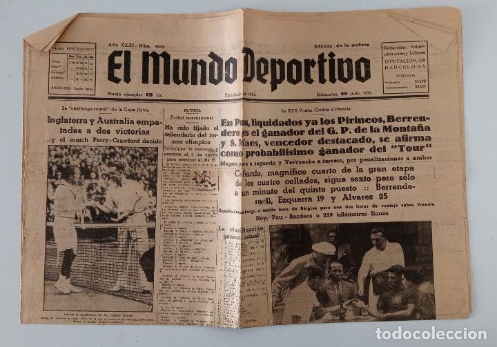EL MUNDO DEPORTIVO. 26 JULIO 1936. XXX VUELTA CICLISTA A FRANCIA Y OTROS TEMAS. W (Coleccionismo Deportivo - Revistas y Periódicos - otros Deportes)