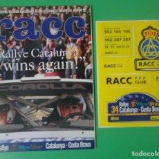 Coleccionismo deportivo: REVISTA RACC ESPECIAL RALLY CATALUNYA - 1998 ,CON PEGATINAS , VER FOTOS. Lote 205119772
