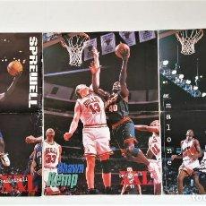 Coleccionismo deportivo: 3 PÓSTERS DOBLES NBA (REVISTA XXL BASKET) - KEMP, MALONE, SPREWELL ~ AÑOS 90. Lote 206588585