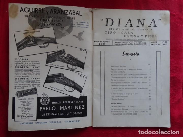 Coleccionismo deportivo: REVISTA DE CAZA, TIRO, CANINA Y PESCA, DIANA Nº 77 ARGENTINA MAYO 1946 - Foto 2 - 207473686