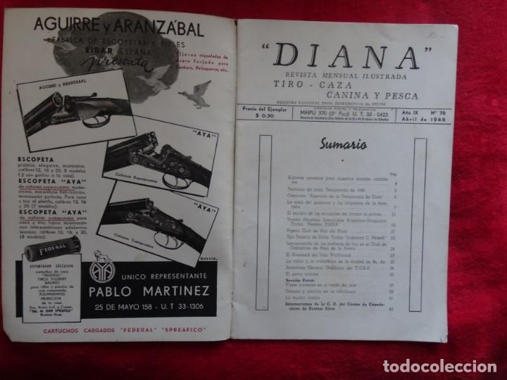 Coleccionismo deportivo: REVISTA DE CAZA, TIRO, CANINA Y PESCA, DIANA Nº 76 ARGENTINA ABRIL 1946 - Foto 2 - 207474083
