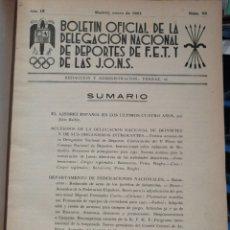 Coleccionismo deportivo: BOLETIN OFICIAL DE LA DELEGACION NACIONAL DE DEPORTES DE F.E.T Y DE LAS J.O.N.S. AÑO 1951 COMPLETO. Lote 208476111