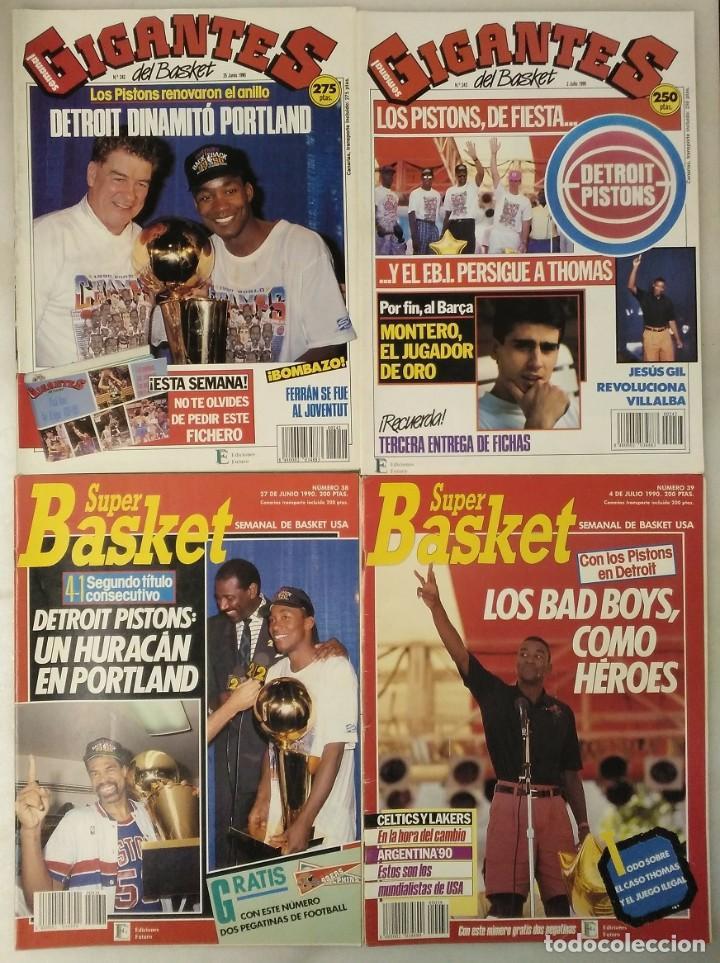 """DETROIT PISTONS - REVISTAS ''GIGANTES'', ''SUPERBASKET'' Y ''REVISTA NBA"""" - CAMPEONES DE 1990 Y 2004 (Coleccionismo Deportivo - Revistas y Periódicos - otros Deportes)"""