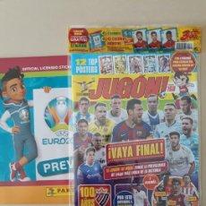 Coleccionismo deportivo: REVISTA JUGON 160. PANINI. ENVOLTORIO ORIGINAL. SIN CROMOS. + ALBUM EURO 2020 PREVIEW. Lote 218024822