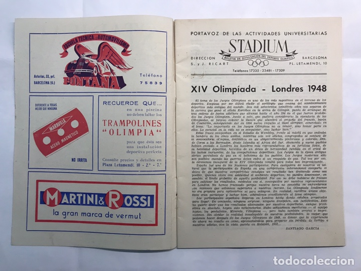 Coleccionismo deportivo: STADIUM, Boletín de Divulgación del Deporte Olimpico. Juegos Olímpicos de Londres (a.1948) - Foto 2 - 218746077