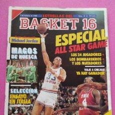 Coleccionismo deportivo: REVISTA ESTRELLAS DEL BASKET 16 Nº 18 ESPECIAL ALL STAR GAME CHICAGO 88-POSTER MICHAEL JORDAN BULLS. Lote 221549103
