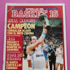 Collectionnisme sportif: REVISTA ESTRELLAS DEL BASKET 16 Nº 24 1988 REAL MADRID CAMPEON COPA KORAC 88 CIBONA. Lote 221549576