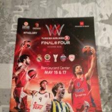 Coleccionismo deportivo: REVISTA EUROLIGA BALONCESTO FINAL FOUR. Lote 222277162