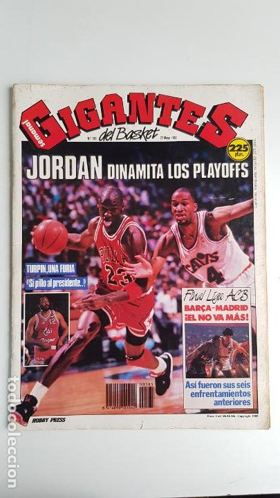 REVISTA GIGANTES DEL BASKET Nº 185 1989 MICHAEL JORDAN DINAMITA LOS PLAYOFFS (Coleccionismo Deportivo - Revistas y Periódicos - otros Deportes)