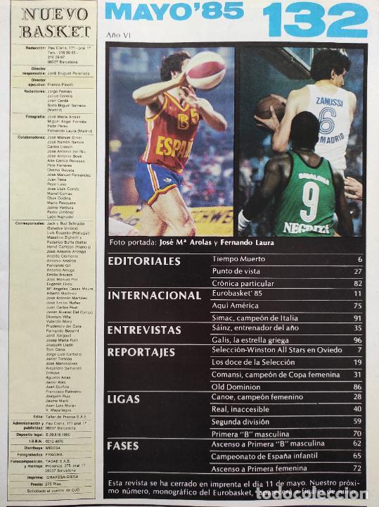 Coleccionismo deportivo: REVISTA NUEVO BASKET Nº 132 1985 EUROBASKET 85 - LOLO SAINZ - POSTER REAL MADRID CAMPEON LIGA - Foto 3 - 237487155