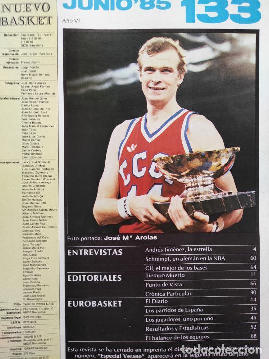 Coleccionismo deportivo: REVISTA NUEVO BASKET Nº 133 1985 EUROBASKET 85 - POSTER SELECCION ESPAÑOLA - ANDRES JIMENEZ - Foto 3 - 237487600