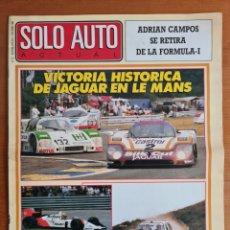 Coleccionismo deportivo: REVISTA SOLO AUTO ACTUAL NÚM. 27 AÑO 1988 - ADRIÁN CAMPOS F1 CITROËN ZANINI GP MCLAREN AUTOMOVILISMO. Lote 244012490