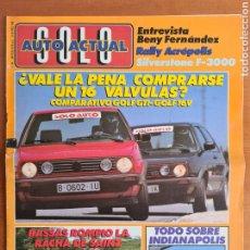 Coleccionismo deportivo: REVISTA SOLO AUTO ACTUAL NÚM. 26 AÑO 1988 - BASSAS SAINZ VW GTI GOLF 16 VÁLVULAS. Lote 244182145