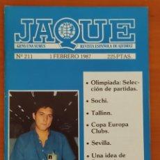 Coleccionismo deportivo: JAQUE Nº 211. 1/2/1987. AJEDREZ.. Lote 254852470