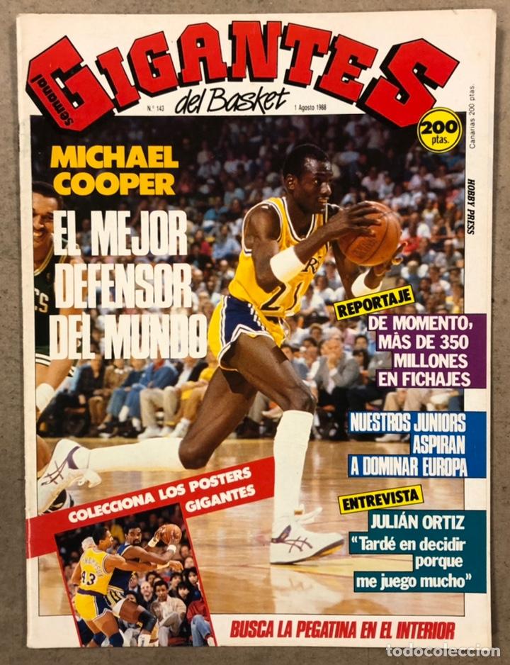 GIGANTES DEL BASKET N° 143 (1988). MICHAEL COOPER, SELECCIÓN JUNIOR, RIVA, ASKATUAK, CACAOLAT,... (Coleccionismo Deportivo - Revistas y Periódicos - otros Deportes)