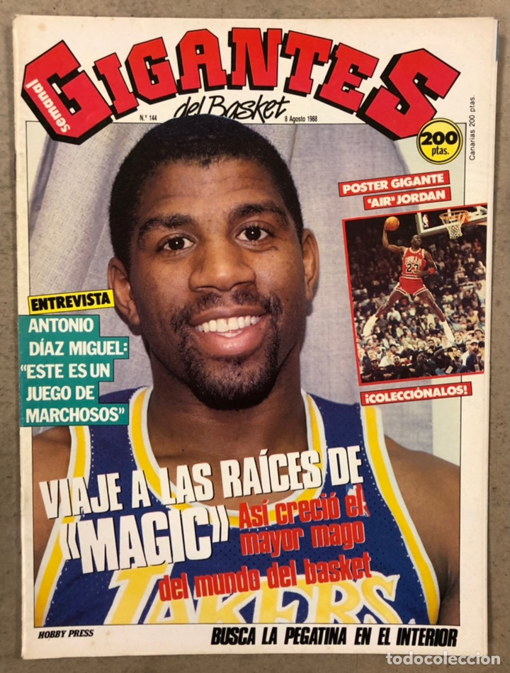 GIGANTES DEL BASKET N° 144 (1988). MAGIC JOHNSON, ANTONIO DÍAZ MIGUEL, GERMÁN GONZÁLEZ,... (Coleccionismo Deportivo - Revistas y Periódicos - otros Deportes)