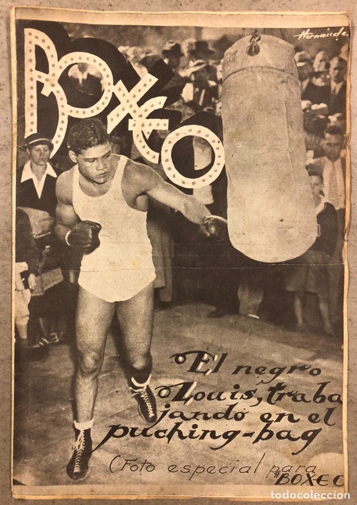 REVISTA BOXEO N° 551 (1935). PAULINO UZCUDUN VS JOE LOUIS, JULIÁN ECHEVERRIA, SANGCHILI, SAGARRA SAR (Coleccionismo Deportivo - Revistas y Periódicos - otros Deportes)