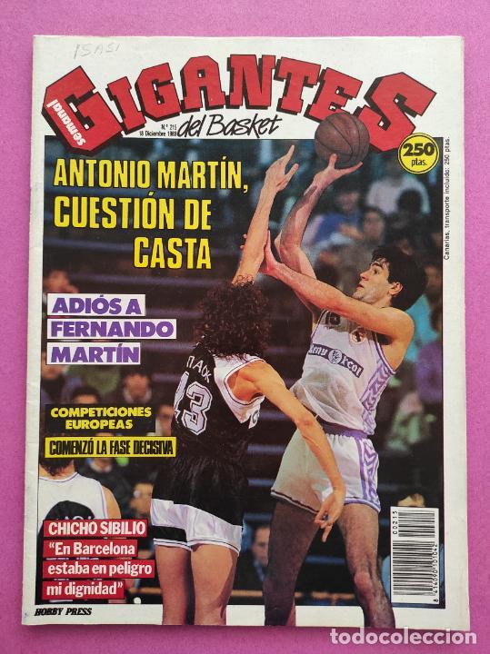 REVISTA GIGANTES DEL BASKET Nº 215 1989 ADIOS FERNANDO MARTIN - POSTER REAL MADRID - CHICHO SIBILIO (Coleccionismo Deportivo - Revistas y Periódicos - otros Deportes)