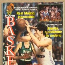 Colecionismo desportivo: NUEVO BASKET N° 132 (1985). MADRID CAMPEÓN LIGA (POSTER), EUROBASKET '85, LOLO SAINZ, NICOS GALIS,. Lote 266585033