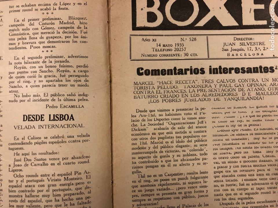 Coleccionismo deportivo: REVISTA BOXEO N° 528 (1935). PEDRITO RUIZ Vs ORTEGA, SANGCHILLI, ALF BROWN, ARA, MARCEL THIL, JOE LE - Foto 2 - 276499523