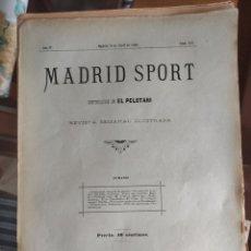 Collezionismo sportivo: REVISTA SEMANAL MADRID SPORT. Nº 19. MADRID 19 DE ABRIL 1896. 8 PÁGS.. Lote 276691653