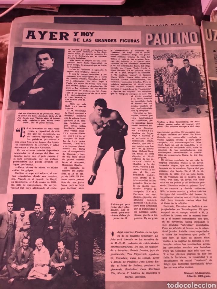 2 HOJAS RECORTES DE ARTÍCULO SOBRE PAULINO UZCUDUN. REVISTA SEMANA 1169 DE 1962 (Coleccionismo Deportivo - Revistas y Periódicos - otros Deportes)