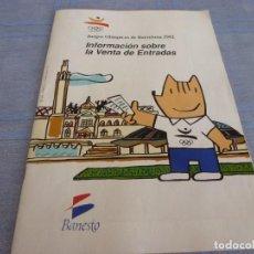 Coleccionismo deportivo: (BTA) JUEGOS OLIMPICOS BARCELONA-92 INFORMACIÓN SOBRE LA VENTA DE ENTRADAS (BANESTO). Lote 280381758