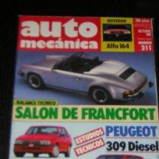 AUTOMECANICA Nº 211 - OCTUBRE 1987 - REVISTA AUTO MECANICA - ALFA ROMEO 75 TS / PEUGEOT 309 DIESEL