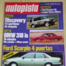 Coches: AUTOPISTA Nº 1582 - NOVIEMBRE 1989 - BMW 318 IS / FORD SCORPIO 2.0I / LANCIA THEMA 2000 IE. Lote 119587886