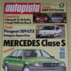 Coches: AUTOPISTA Nº 1538 - ENERO 1989 - PEUGEOT 309 GTX / RENAULT 25 V6 TURBO / SAAB 9000 AIRFLOW II. Lote 9172966