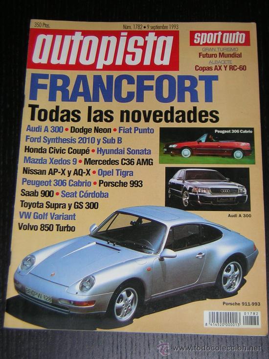 AUTOPISTA Nº 1782 - SEPTIEMBRE 1993 - SUBARU IMPREZA 1.8 4WD / AUDI 100 2.6 E / VOLVO 850 GLE (Coches y Motocicletas Antiguas y Clásicas - Revistas de Coches)