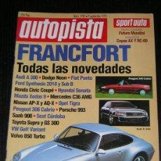 Coches: AUTOPISTA Nº 1782 - SEPTIEMBRE 1993 - SUBARU IMPREZA 1.8 4WD / AUDI 100 2.6 E / VOLVO 850 GLE. Lote 22571663