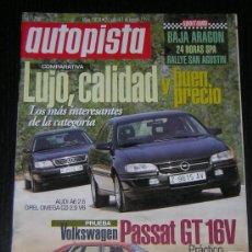 Coches: AUTOPISTA Nº 1828 - JULIO 1994 - VW PASSAT GT / AUDI A6 2.6 / OPEL OMEGA CD 2.5 V6 / VOLVO 960. Lote 8692614