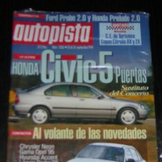Carros: AUTOPISTA Nº 1836 - SEPTIEMBRE 1994 - FORD PROBE 2.0 16V / HONDA PRELUDE 2.0 16V / PEUGEOT 106 1.5 D. Lote 8692635