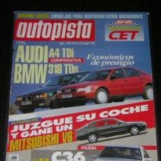 Carros: AUTOPISTA Nº 1864 - ABRIL 1995 - AUDI A4 TDI / BMW 318 TDS / MERCEDES C36. Lote 9001836
