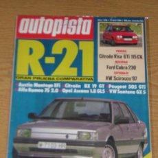 Coches: AUTOPISTA Nº 1396 - ABRIL 1986 - CITROEN VISA GTI / RENAULT 21 / BX 19 GT / PEUGEOT 505 GTI / ALFA. Lote 52972115