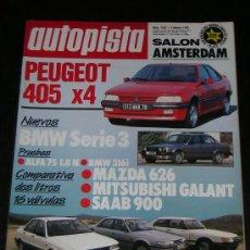 Coches: AUTOPISTA Nº 1543 - FEB 1989 - ALFA 75 1.8 IE / BMW 316I / SAAB 900 / MAZDA 626 / MITSUBISHI GALANT. Lote 9347870