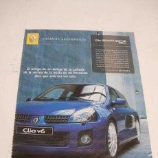 Coches: RENAULT CLIO SPORT V6 255CV: ANUNCIO PUBLICITARIO. Lote 11222998