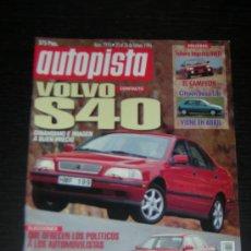 Coches: AUTOPISTA Nº 1910 - FEBERO 1996 - VOLVO S40 / SUBARU IMPREZA 4WD / CITROEN SAXO 1.4I / AUDI S8 - S6. Lote 71043079