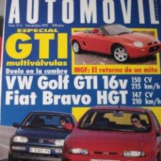 Coches: REVISTA AUTOMOVIL - NUM 214 VW GOLF GTI MGF FIAT BRAVO. Lote 16296982