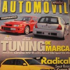 Coches: REVISTA AUTOMOVIL - NUM 280 RENAULT CLIO V6 MITSUBISHI CARISMA SEAT IBIZA CUPRA R. Lote 178388655