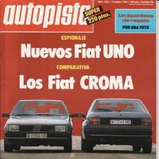 Coches: REVISTA AUTOPISTA Nº 1421 AÑO 1986. PRU: FORD ORION 1.6 AUT. COMP: FIAT CROMA TD Y FIAT CROMA T I.E.. Lote 24707899