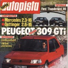 Auto: REVISTA AUTOPISTA Nº 1456 AÑO 1987. PRU: PEUGEOT 309 GTI. COMP: MERCEDES 190 2.3 Y 190 2.6 OETTINGER. Lote 132727081