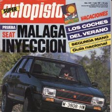 Auto: REVISTA AUTOPISTA Nº 1459 AÑO 1987. PRUEBA: SEAT MALAGA INYECCION. COMP: LANCIA PRISMA TURBO DIESEL. Lote 47644030