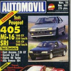 Coches: AUTOMOVIL 118 NOV 1987 TRESER, PEUGEOT 405 SRI Y MI-16, OPEL ASCONA GT 2.0I, SUZUKI SJ 413, COSWORTH. Lote 57000381