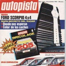 Coches: REVISTA AUTOPISTA Nº 1376 AÑO 1985. COMPARATIVA: FORD FIESTA BALEAR, OPEL CORSA CITY, PEUGEOT 205 XL. Lote 142979002