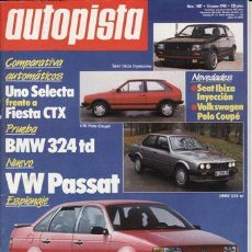 Coches: REVISTA AUTOPISTA Nº 1487 AÑO 1988. PRUEBA: BMW 324 TD. COMP: FIAT UNO SELECTA Y FORD FIESTA CTX.. Lote 31795385
